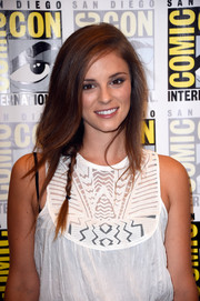 Jordan Hayes styled her hair with a small braid.
