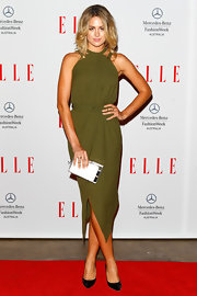 Jesinta Campbell opted for a lovely olive halter dress with a cinched waist.