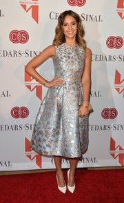 Jessica Alba wore a bronze and blue printed Mary Katrantzou dress for The Helping Hand of LA Mother's Day Luncheon.