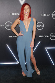 Sharna Burgess styled her look with studded gold heels.