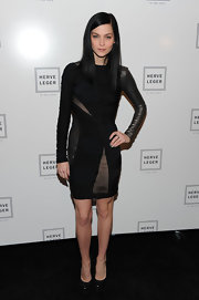 Leigh Lezark struck a fierce pose in black leather platform pumps.