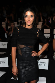 Jessica Szohr showed off her sexy cut out dress with sheer insets at the waist.