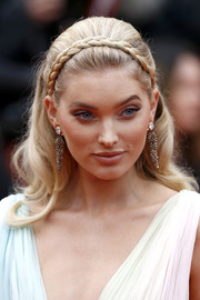 Elsa Hosk looked boho-glam wearing this loose hairstyle with a crown braid at the 2019 Cannes Film Festival screening of 'A Hidden Life.'