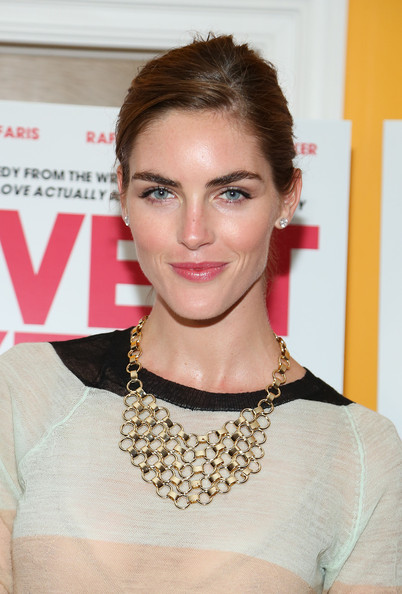 Hilary Rhoda Gold Statement Necklace [i give it a year,hair,face,hairstyle,eyebrow,lip,beauty,skin,chin,jewellery,fashion,screening - arrivals,hilary rhoda,special new york,new york city,79 crosby street,special new york screening]