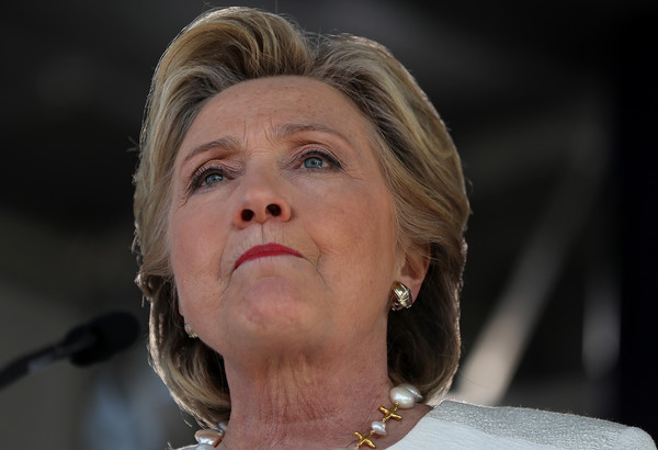Hillary Clinton wore her hair in a short, teased style while campaigning in Florida.