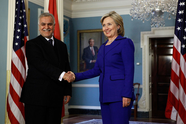 Hillary wore a bright blue pantsuit to meet with Iraqi Vice President Tariq Hashimi.