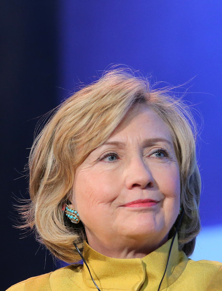 Hillary Clinton Bob [hair,face,chin,head,hairstyle,blond,forehead,smile,spokesperson,electric blue,hillary clinton,u.s.,new york city,sheraton new york hotel towers,meeting,clinton global initiative]