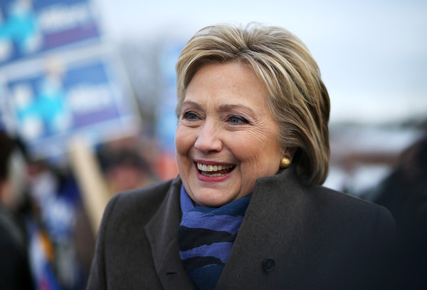 Hillary Clinton Bob [face,facial expression,head,smile,blond,businessperson,iris,photography,white-collar worker,official,hillary clinton,voters,primary,polls,new hampshire,polling station,fairgrounds junior high school,nation,democratic,primaries]