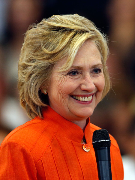 Hillary Clinton Bob [hair,facial expression,hairstyle,blond,chin,orange,smile,hillary clinton,candidate,president,dr.,secretary of state,remarks,town hall,democratic,hillary clinton campaigns in vegas area,campaign stop]