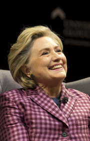 Hillary Clinton sported her usual bob at the Cheltenham Literary Festival.