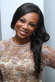 Tiffany Hines looked ultra feminine wearing her long locks swept to the side at the premiere of 'Hit the Floor' season 4.