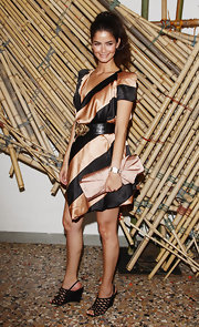 Shermine Shahrivar wore a pretty striped satin dress for a cocktail party.