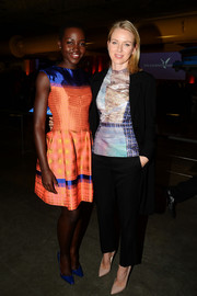 Naomi Watts donned a colorful, mixed-print top by Mary Katrantzou for the Q&A with Ann Curry event.