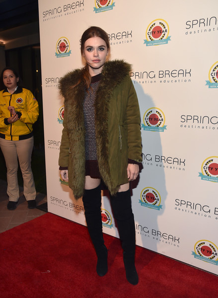 Holland Roden Suede Jacket [red carpet,carpet,clothing,fur,fashion,flooring,joint,outerwear,footwear,event,holland roden,los angeles,california,city year,spring break]