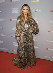 Olivia Wilde was all about boho glamour in a flowy print gown by Etro at the Hollywood Critics Awards.