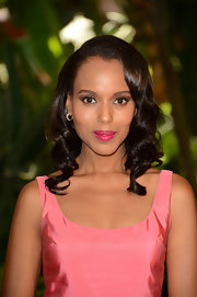 Kerry matched her lips to her dress with this bright beautiful color.