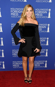 Joanne Froggatt attended the HFPA Grants Banquet wearing a multi-textured off-the-shoulder LBD by Roland Mouret.