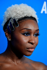 Cynthia Erivo jazzed up her 'do with a bejeweled headband.