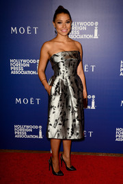 Jessica Parker Kennedy was classy and chic in a silver strapless dress by Carolina Herrera during the Hollywood Foreign Press Association's Grants Banquet.