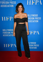 Liz Hernandez was trendy in an off-the-shoulder jumpsuit with peekaboo detailing at the HFPA Grants Banquet.