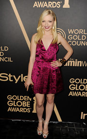 Francesca Eastwood offset her porcelain complexion with this fuchsia leopard-print mini.