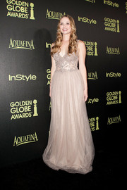 Greer Grammer looked quite the princess in a nude Patricia Bonaldi gown, featuring an embellished bodice and a tulle skirt, during the Golden Globe Award season celebration.