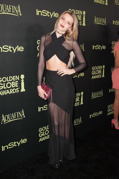 More Pics of Abbey Lee Kershaw Leather Wristlet (1 of 5) - Wristlets Lookbook - StyleBistro [season,clothing,dress,premiere,carpet,little black dress,shoulder,flooring,event,cocktail dress,long hair,arrivals,abbey lee kershaw,fig,golden globe award,olive melrose place,west hollywood,california,hollywood foreign press association,instyle]