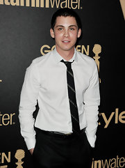 Logan Lerman kept it classic with a white button-down shirt and a striped tie at HFPA and InStyle's celebration of the 2013 Golden Globe Awards Season.