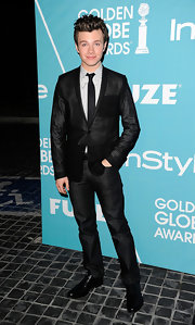 Chris Colfer looked dapper in a black blazer at the 'InStyle' soiree.
