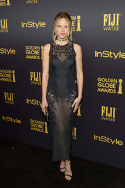 Halston Sage rocked the sheer trend with this black Zuhair Murad number at the HFPA and InStyle Golden Globe Award season celebration.