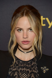 Halston Sage looked alluring with her loose updo and wavy tendrils at the HFPA and InStyle Golden Globe Award season celebration.