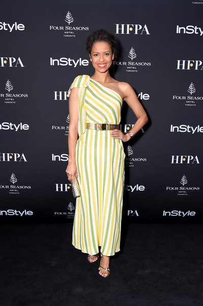 More Pics of Gugu Mbatha-Raw Metallic Belt (1 of 4) - Belts Lookbook - StyleBistro [clothing,dress,shoulder,yellow,premiere,fashion model,fashion,cocktail dress,hairstyle,carpet,arrivals,gugu mbatha-raw,four seasons hotel,toronto,canada,hollywood foreign press association and instyle party,the hollywood foreign press association,toronto international film festival]