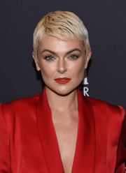 Serinda Swan finished off her look with a red lip that was a perfect match to her suit!
