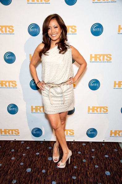 Carrie Ann Inaba looked sweet in this single-shoulder frock with a drop-waist belt.