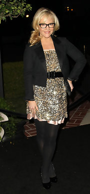 Rachael wears a black cropped blazer over a sparkling cocktail dress for the Hollywood Reporter party.