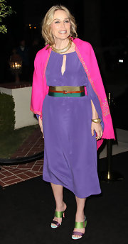 Sharon was colorful at the Hollywood Reporter party in a silk lilac dress with a keyhole neckline.