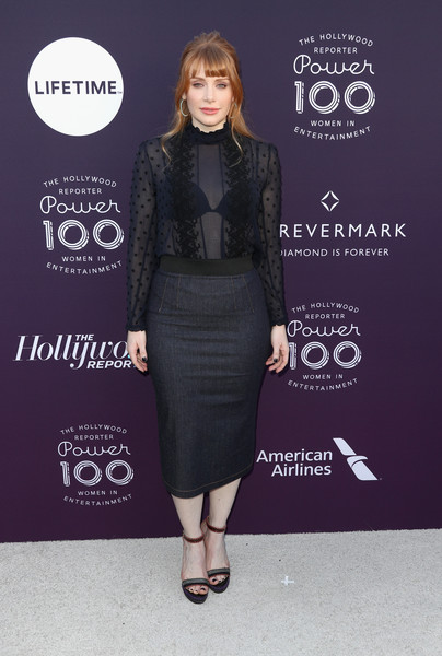 Bryce Dallas Howard paired her top with a denim pencil skirt.