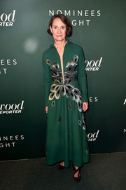 Laurie Metcalf cut a chic figure in a green Yanina Couture gown with metallic embroidery at the Hollywood Reporter Nominees Night.