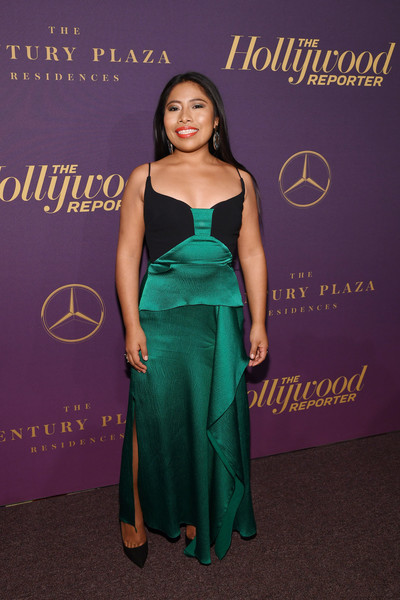 Yalitza Aparicio donned an emerald and black slip gown for the Hollywood Reporter Oscar nominees party.