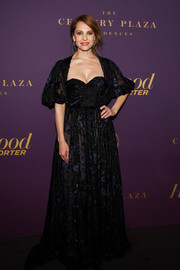 Marina de Tavira glammed up in an embroidered sweetheart-neckline gown for the Hollywood Reporter Oscar nominees party.