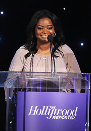 Octavia Spencer attended the Women in Entertainment Breakfast wearing silver crystal Henna hoop earrings.