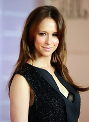Jennifer Love Hewitt wore a shiny pale pink lipstick that echoed the soft flush of her cheeks at the Women in Entertainment breakfast.