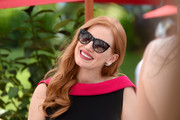 Jessica Chastain accessorized with classic black cateye sunnies.