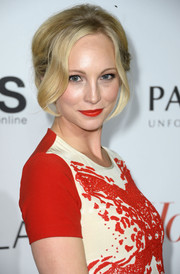 Candice Accola styled her hair in a romantic braided bun for the Hollywood Reporter Emmy party.