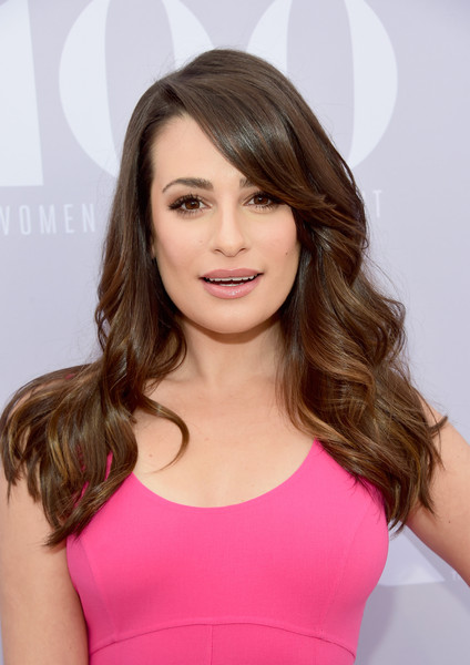 More Pics of Lea Michele Long Wavy Cut with Bangs (3 of 11) - Long Wavy Cut with Bangs Lookbook - StyleBistro []