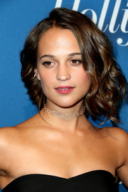 Alicia Vikander styled her hair into a wavy faux bob for the Hollywood Reporter Academy Awards nominees night.