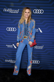 Suki Waterhouse was hippie-chic in a floral pantsuit by Roberto Cavalli at the Hollywood Reporter's Next Gen 2016 celebration.