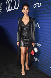 Alexandra Shipp rocked a black leather mini dress with a lace neckline at the Hollywood Reporter's Next Gen 2016 celebration.