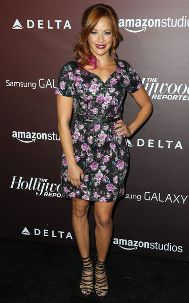 Amy Paffrath complemented her dress with a pair of fierce black strappy sandals.