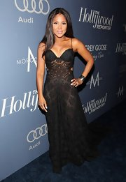 Toni Braxton wore this sheer black dress to an Oscar nominees luncheon in Hollywood.